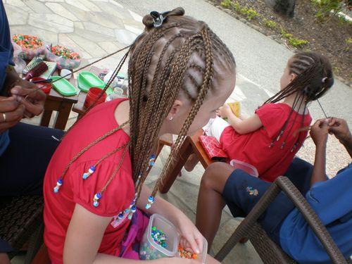 Girls having their hair done