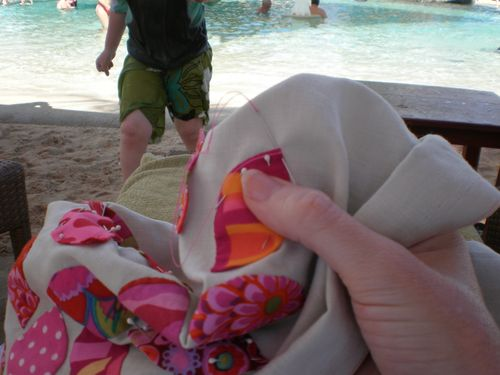 Sewing by the pool 2